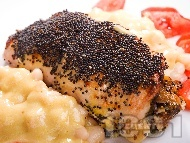 Синапово пилешко руло пълнено с гъби печурки и синьо сирене печено на фурна